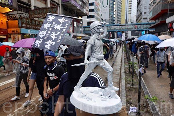 2019年10月6日,反對《緊急法》港島區大遊行。抗爭者在銅鑼灣。(余鋼/大紀元)