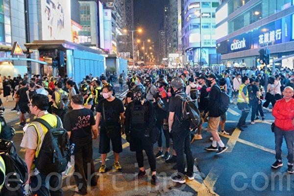 2019年10月27日,旺角聚集大量抗爭者。(宋碧龍/大紀元)