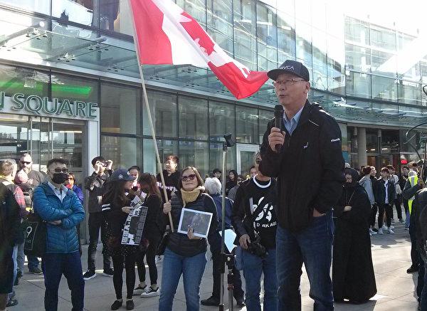 溫哥華中國人權關注組成員弗蘭克·沈(Frank Shen)。(李樂/大紀元)