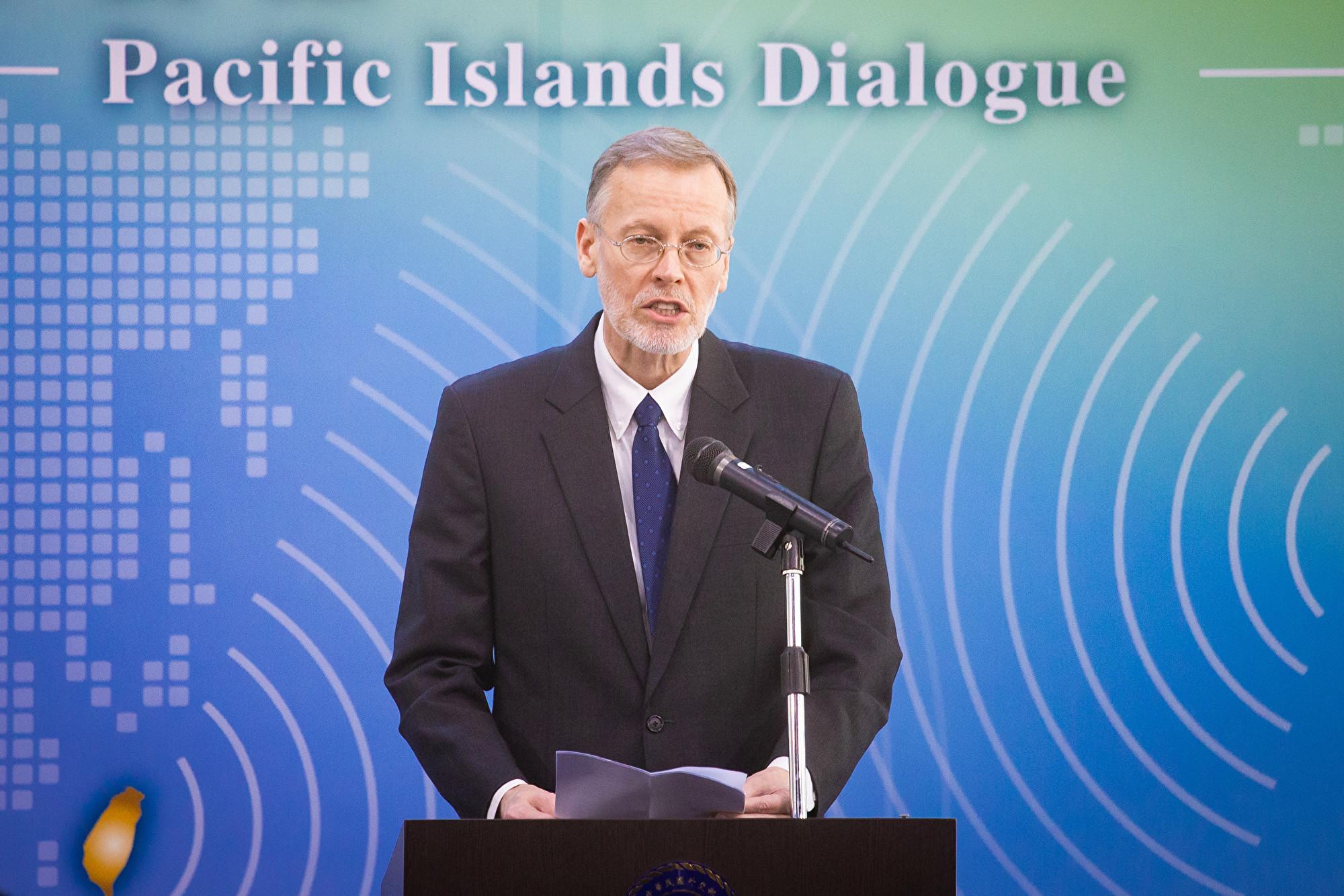 美台首屆「太平洋對話」(Pacific Islands Dialogue)7日在台北登場,美國在台協會(AIT)台北辦事處處長酈英傑(William Brent Christensen)。(陳柏州/大紀元)