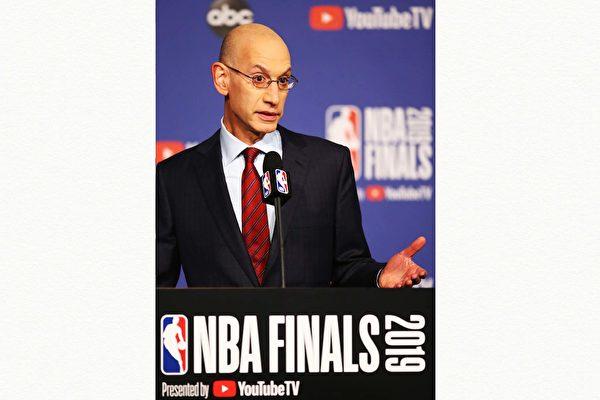 NBA火箭隊總經理莫利言論引發中共抵制。圖為總裁Adam Silver,他表示將不會限制球隊及球員的言論自由。(Takashi Aoyama/Getty Images)