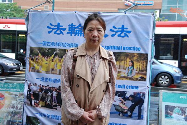 法輪功學員李曉策說:「共產黨不代表中國。中國有五千年歷史,共產黨執政才幾年?它是歷史上最殘暴的政權,我們不應該去維護這樣的殘暴政權。」(伊鈴/大紀元)