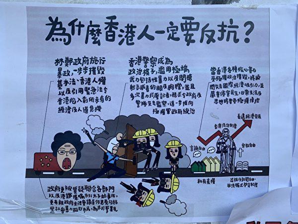 香港太子站附近的反送中海報。(蔡溶/大紀元)