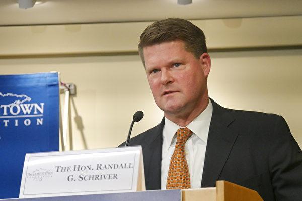 10月15日,美國國防部印太安全事務助理部長薛瑞福(Randall Schriver)在華府智囊詹姆斯敦基金會(Jamestown Foundation)年會活動上。(李辰/大紀元)