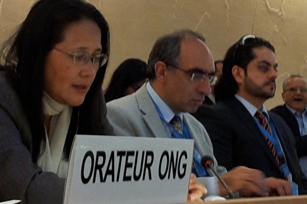 2012年9月18日,郭君應邀在日內瓦萬國宮第21屆聯合國人權理事會上發言。(大紀元圖片)