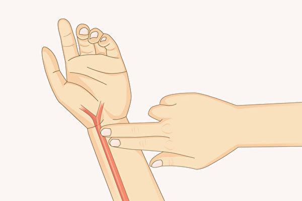 給自己把脈,脈搏出現特定反應代表感冒前兆。(Shutterstock)