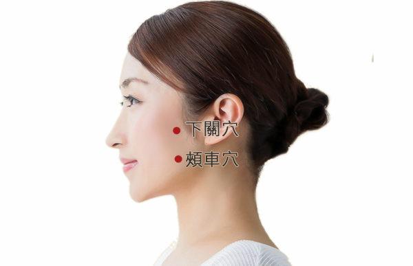 按摩頭部的下關、頰車穴,舒筋活絡,促進血液循環,有美化臉部肌膚功效。(大紀元製圖)