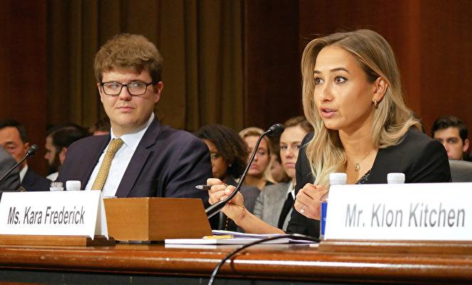 華府智囊「新美國安全中心」的研究員卡拉·弗雷德里克(Kara Frederick)(左)在聽證會上。(李辰/大紀元)