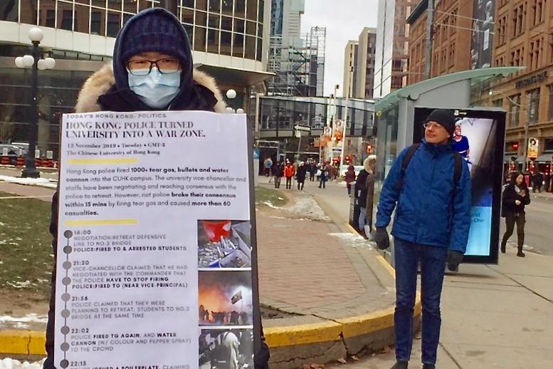 冒零下15度嚴寒 多倫多大學港生絕食支援香港