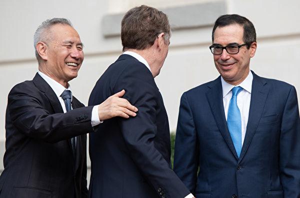 圖為10月19日劉鶴訪問美國與美方進行貿易談判。(SAUL LOEB/AFP via Getty Images)