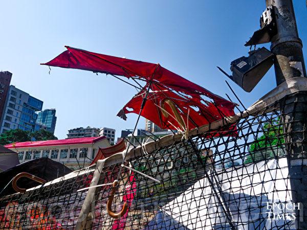 2019年11月17日,香港理大的路障。(yinyin liao/大紀元)