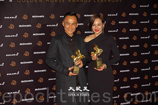 第56屆金馬獎最佳男主角《陽光普照》陳以文、最佳女主角《熱帶雨》楊雁雁。(許基東/大紀元)