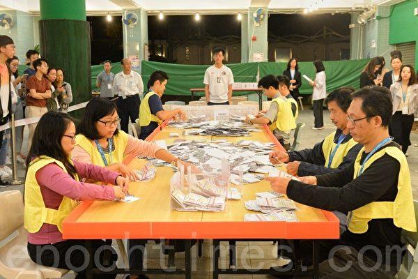 2019年11月24日,香港舉行區議會選舉,九龍塘官立小學票網站票現場。(宋碧龍/大紀元)