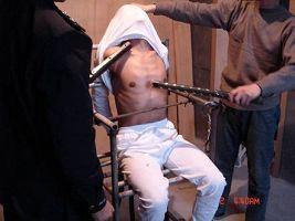 酷刑演示:電棍電擊。(明慧網)