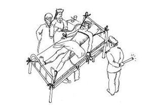 中共酷刑示意圖:綁在床上灌食。(明慧網)
