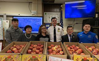 康華老人中心向109分局送300個蘋果