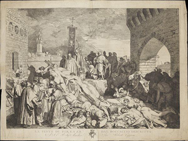 1348年佛羅倫斯的瘟疫繪圖。(維基百科)