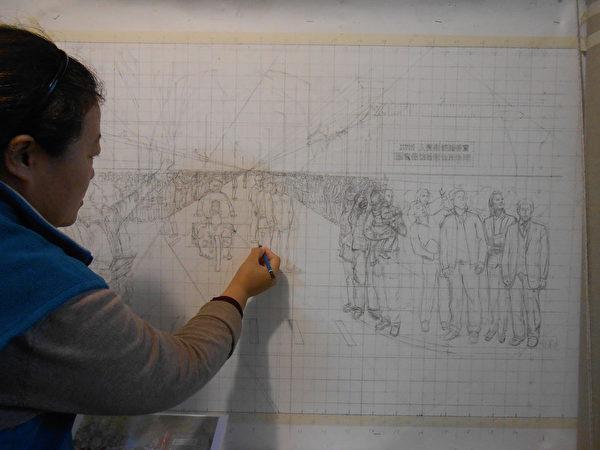 香港畫家孔海燕在創作《一九九九年四月二十五日》過程中。(孔海燕提供)