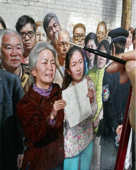 孔海燕在《一九九九年四月二十五日》的創作中,畫了近400個真人的肖像。(孔海燕提供)