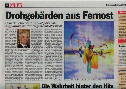 圖為《慕尼黑日報》2008年3月20日報道中領館對當地演出公司施壓,文章題為「來自遠東的威脅」。(追查國際)