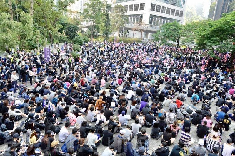 組圖2:12.1港人大遊行 感謝美國保護香港