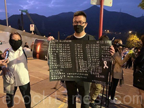 2019年12月12日,香港民眾為科大學生周梓樂舉行悼念會。圖為袁先生。(韓納/大紀元)