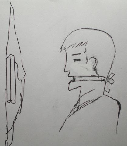 中共酷刑示意圖:鐵鏈子勒嘴。(明慧網)