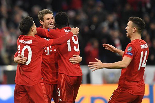 歐冠小組賽第六輪,拜仁主場3:1勝熱刺