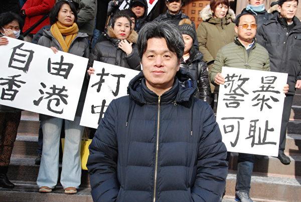 中國民主黨黨員賴昌豐說,世界人權日定於1948年,但中國共產黨從來沒有把天賦的人權給過中國人。(伊鈴/大紀元)