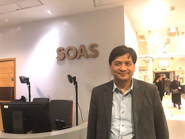 香港大學校友關注組副召集人麥東榮參加了12月3日在 在倫敦大學亞非學院(SOAS) 舉辦聲援香港活動。(文沁/大紀元)