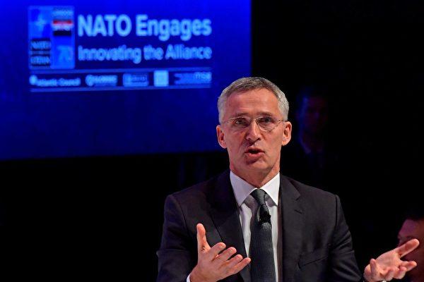 12月3日北約祕書長延斯·斯托爾滕貝格(Jens Stoltenberg)在倫敦舉行的「北約動員大會」活動上說,這是北約首次把中共威脅列入議程。(TOBIAS SCHWARZ/AFP via Getty Images)