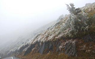 合歡山終於降冰霰 追雪族好開心