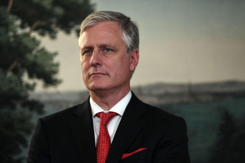美國特朗普的國家安全顧問奧布賴恩(Robert O'Brien)警告說,如果西方世界讓華為參與建立5G網絡,那就是民主世界的信息安全「世界末日」。(SAUL LOEB/AFP via Getty Images)