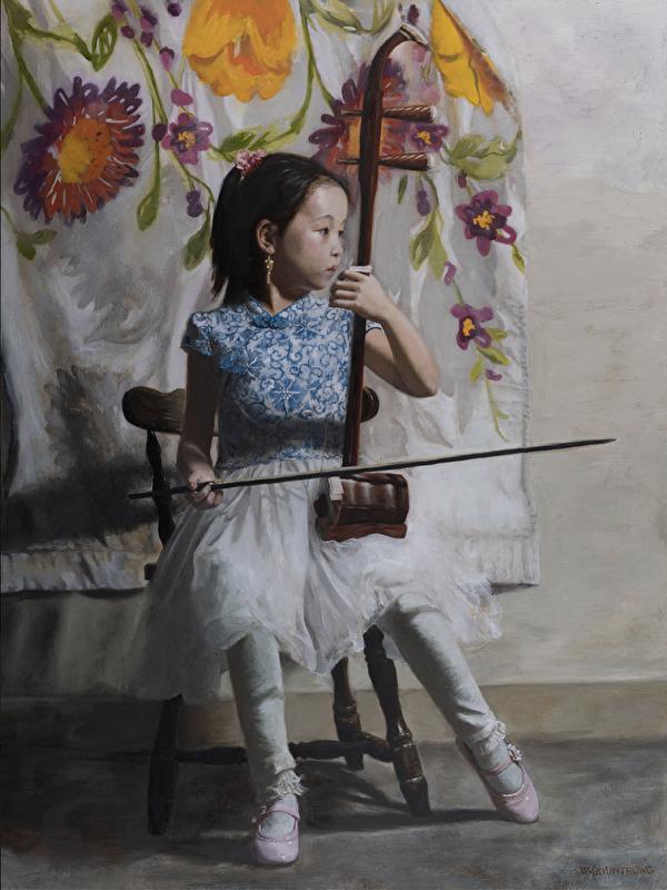 新唐人第五屆「全世界人物寫實油畫大賽」優秀獎作品——《決心》(Determined Heart)。36 x 48英寸。(主辦方提供)