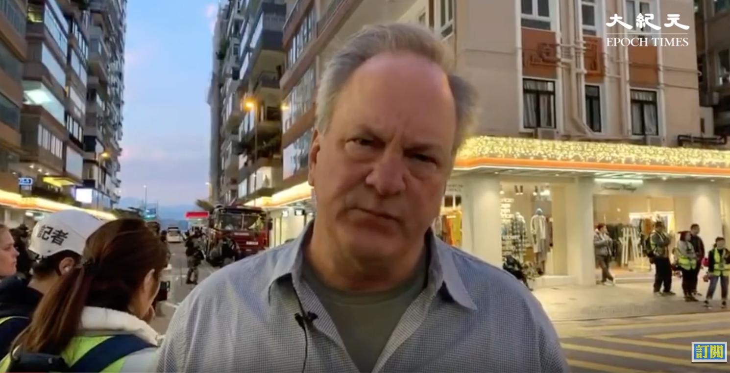 「特朗普愛國者」(Donald Trump Patriots)網站創始人馬克斯·林恩(Max Linn)12月8日專程從美國趕往香港,為港人助威加油。圖為林恩。(大紀元採訪影片截圖)