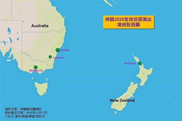 澳洲與紐西蘭,將於2020年2月底迎來神韻。其中,在悉尼上演20場,墨爾本12場等。(大紀元製圖)
