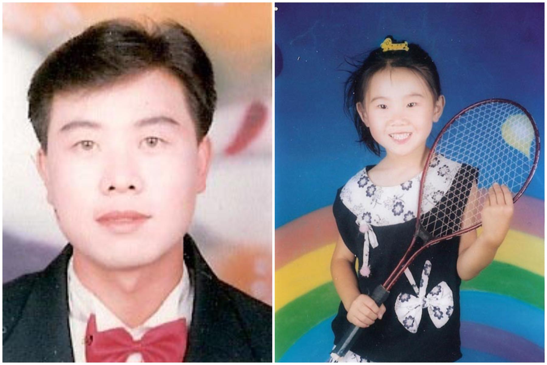 法輪功學員宮鳳強和時年7歲的女兒宮宇 。(明慧網)