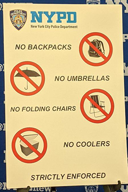 参加时代广场跨年活动,不能携带背囊、大袋子、雨伞、酒精饮料进入观赏区。