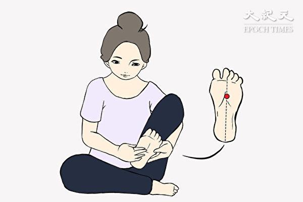 養腎動作之三:擦湧泉穴。(Akina繪圖/大紀元)