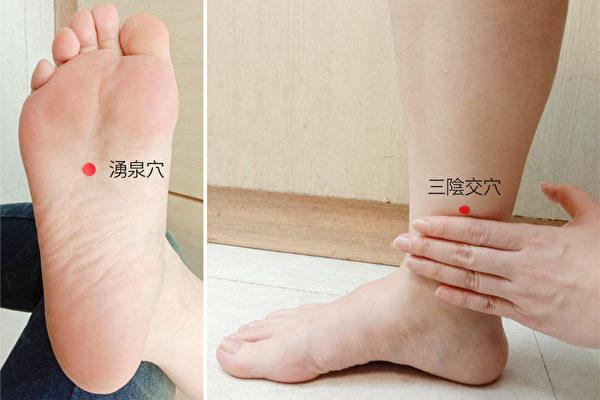 改善更年期症状的穴道:涌泉穴、三阴交穴。(林佩蓁提供)