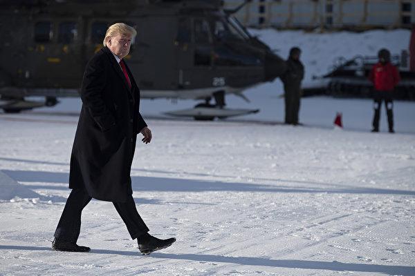 1月21日,特朗普總統抵達達沃斯。(JIM WATSON/AFP)