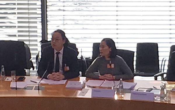 香港請願發起人莊可欣女士和請願方代表林超傑先生分別在聽證會上發言和回答問題。(大紀元)