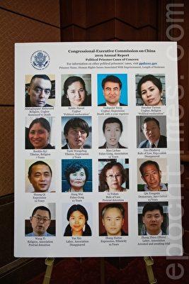 報告展示了「中國政治犯數據庫」中的16例個案,包括河北省法輪功學員卞麗潮、人權律師高智晟、「六四天網」創辦人黃琦。(林樂予/大紀元)