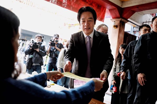 2020年1月11日,2020台灣總統大選,民進黨副總統候選人賴清德前往台南廣州宮投票。(民進黨提供)