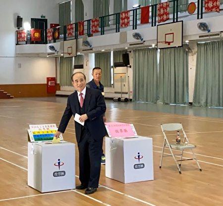 2020年1月11日,2020台灣總統大選與立委選舉,前立法院長王金平回高雄路竹一甲國中活動中心投票。(王金平辦公室提供)