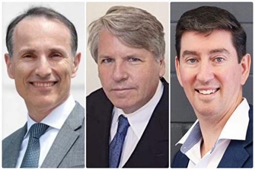 從左到右:瑞典企業家瓦西柳斯·祖樸尼第斯(Vasilios Zoupounidis),美國矽谷知名企業家、多家高科技公司的創始人、主席和合夥人克里斯·紀澤(Chris Kitze),澳洲企業家馬克·哈奇森(Mark Hutchison)。(大紀元合成)