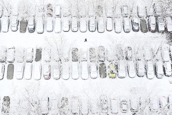 1月6日,北京降雪情况。( WANG ZHAO/AFP via Getty Images)