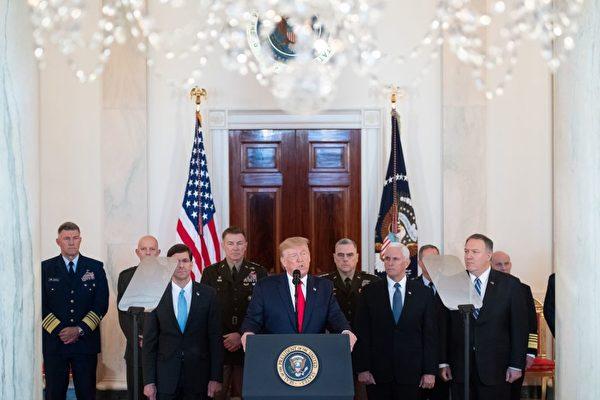 8日上午11時,美國總統特朗普發表講話。(SAUL LOEB/AFP via Getty Images)