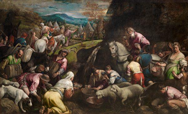 後來也是奇蹟連連,沒有水,摩西舉杖擊打磬石,活水被引出來。圖為意大利畫家哈科波·巴薩諾(Jacopo Bassano)所繪,西班牙普拉多博物館藏。(公有領域)