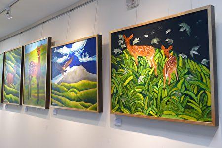 """林世雄以""""母鸡带小鸡""""的方式,将画室中优秀学生的作品也带入展览中,共同呈现玉山的主题。"""